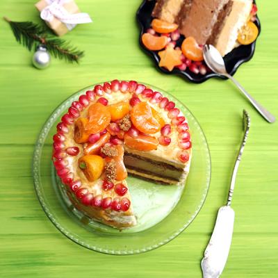 Gâteau à étages au kaki