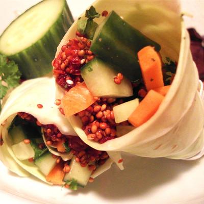 Wraps de chou et quinoa rouge