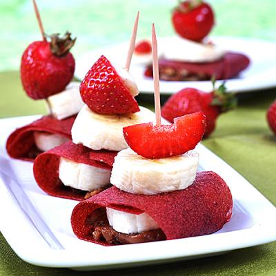 Crêpes de fraises fourrées chocolat - noisette
